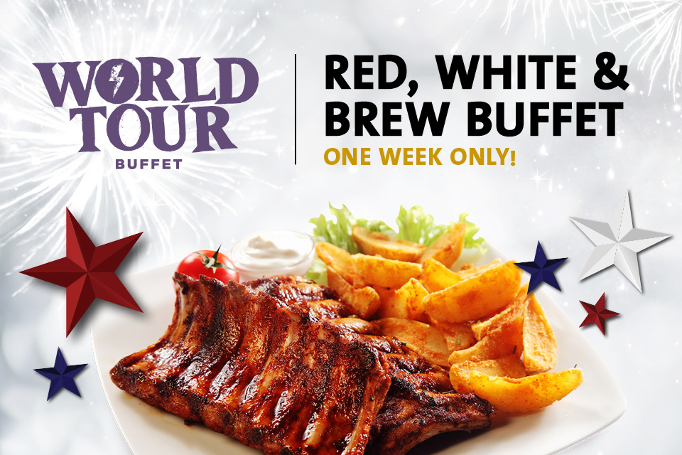 red white brew buffet