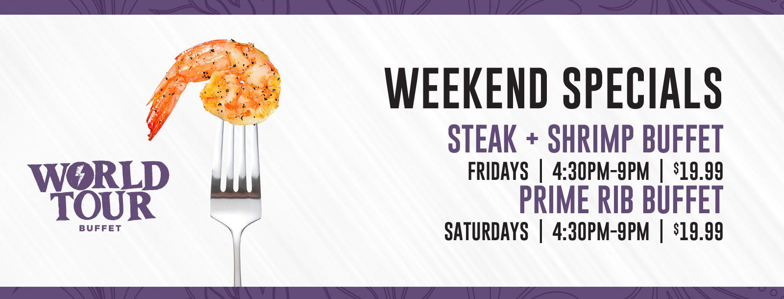 weekend specials world tour buffet